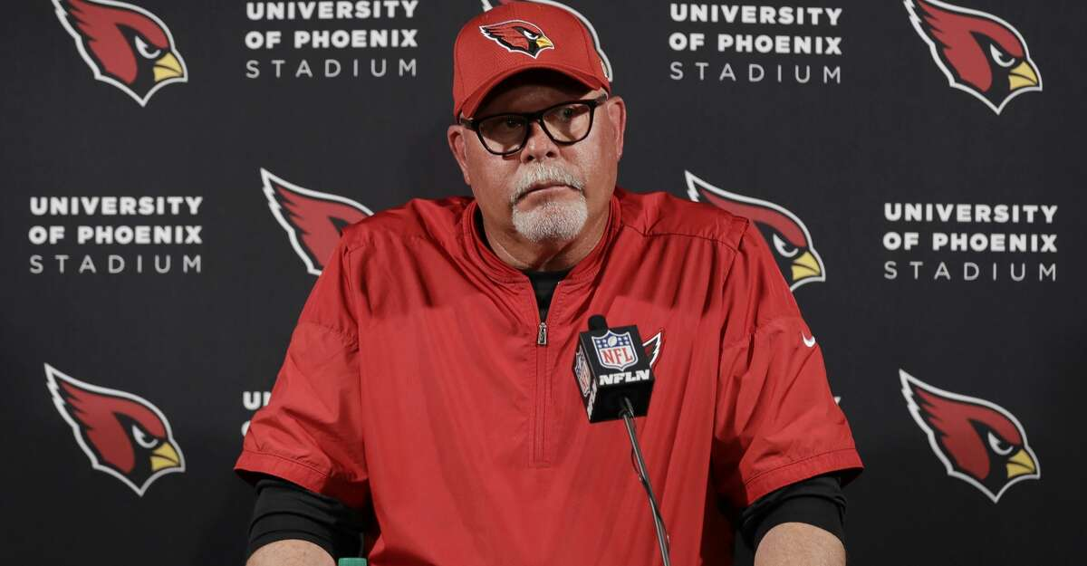 Arizona Cardinals head coach Bruce Arians talks to the media following an NFL football game against the Houston Texans, Sunday, Nov. 19, 2017, in Houston. (AP Photo/David J. Phillip)