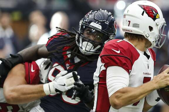 Houston Texans outside linebacker Jadeveon Clowney (90) breaks away from Arizona Cardinals offensive tackle Jared Veldheer (68) to sack quarterback Blaine Gabbert (7) during the fourth quarter of an NFL game at NRG Stadium on Sunday, Nov. 19, 2017, in Houston. ( Brett Coomer / Houston Chronicle )