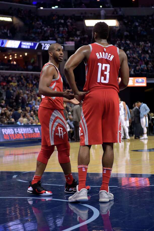 Chris Paul, left, wants to get acclimated to being on the court with James Harden and operating at point guard when Harden is getting a breather. Photo: Brandon Dill, FRE / FR171250 AP