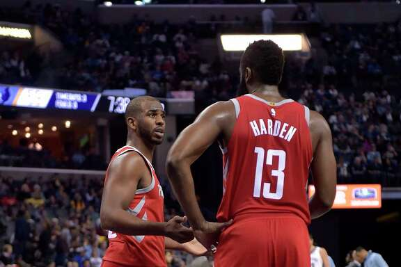 Chris Paul, left, wants to get acclimated to being on the court with James Harden and operating at point guard when Harden is getting a breather.
