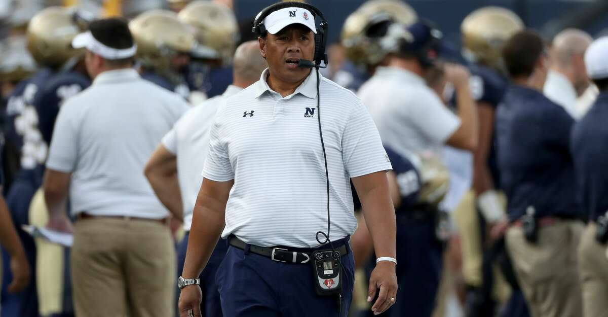 ANNAPOLIS, MD- OCTOBER 21: Head coach head coach Ken Niumatalolo of the Navy Midshipmen looks on during the first half against the UCF Knights at Navy-Marine Corps Memorial Stadium on October 21, 2017 in Annapolis, MD. (Photo by Rob Carr/Getty Images)