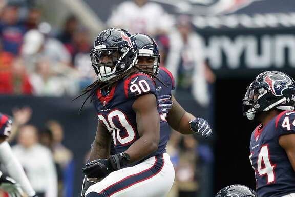 Jadeveon Clowney (90) was a vital part of the Texans' victory over Arizona on Sunday, recording three tackles for loss and two sacks.