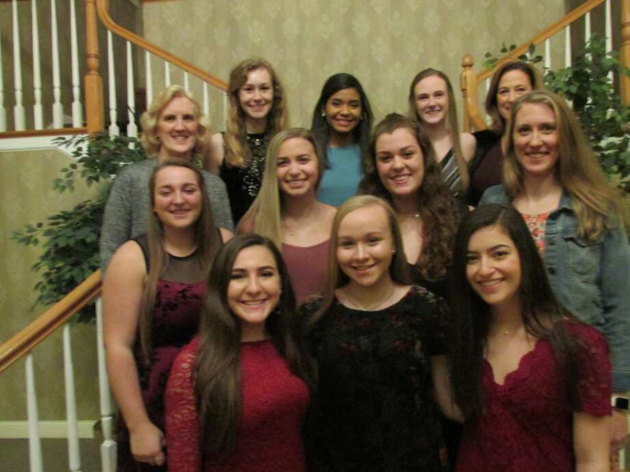 Torrington volleyball seniors and coaches got together as a team for the final time Sunday evening at Chatterly's Banquet Facility. They are, front row, from left: Tatum Marino, Lauren Gaghan, Izzy Weber. Second row: Jocelyn Zordan, Bayleigh DiMauro, Shae Eucalitto, Head Coach Christine Gamari. Third row: Coach Pat Strawson, Nina Lestrud, Vivian Jimezen-Rijo, Candyce Jewett, Coach Maryann Musselman. Photo: Peter Wallace / For Hearst Connecticut Media