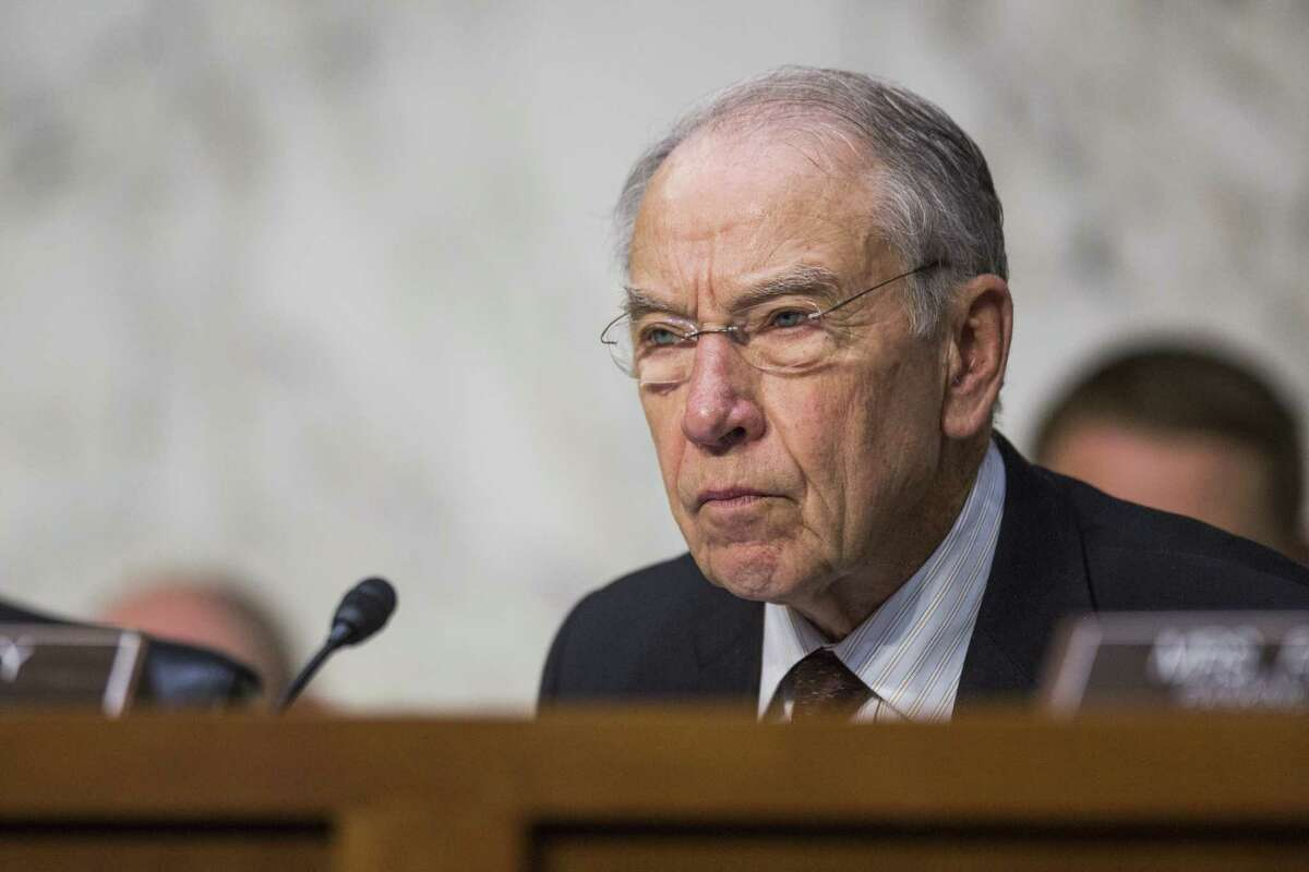 Senator Chuck Grassley, a Republican from Iowa and chairman of the Senate Judiciary Committee, listens during a hearing with Jeff Sessions, U.S. attorney general, not pictured, in Washington, D.C., U.S., on Wednesday, Oct. 18, 2017. Sessions told senators he won't answer questions about his conversations with President Donald Trump over the firing of FBI Director James Comey. Photographer: Zach Gibson/Bloomberg ORG XMIT: 775061481