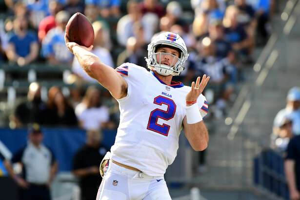 CARSON, CA - NOVEMBER 19:  Nathan Peterman #2 of the Buffalo Bills throws a pass during the second quarter of the game against the Los Angeles Chargers at the StubHub Center on November 19, 2017 in Carson, California.  (Photo by Harry How/Getty Images)
