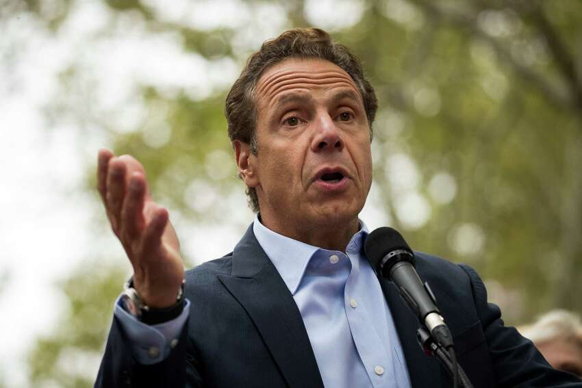 NEW YORK, NY - SEPTEMBER 18: New York Governor Andrew Cuomo speaks during a rally of hundreds of union members in support of IBEW Local 3 (International Brotherhood of Electrical Workers) at Cadman Plaza Park, September 18, 2017 in the Brooklyn borough of New York City. More than 1800 members of IBEW Local 3 are entering their sixth month of a strike in a contract dispute with Charter Communications/Spectrum. (Photo by Drew Angerer/Getty Images) ORG XMIT: 775045427