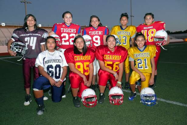 Females participating in football in middle or high school in Laredo include, kneeling left to right, Itzel Macias, Claudia Muñoz, Priscila Alvarez and Ashley Cepeda, and standing are Amberly Marin, Alexis Garcia, Bridget Gonzalez, Princess Gallardo and Nathally Valdibiar.
