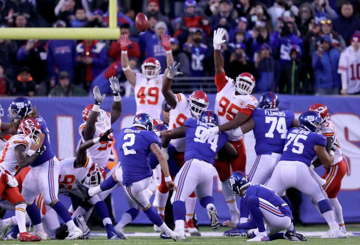 EAST RUTHERFORD, NJ - NOVEMBER 19: Aldrick Rosas #2 of the New York Giants kicks the game winning field goal in overtime against the Kansas City Chiefs on November 19, 2017 at MetLife Stadium in East Rutherford, New Jersey. (Photo by Elsa/Getty Images) ORG XMIT: 700070748