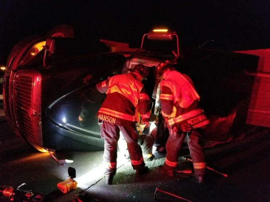 Danbury firefighters on the scene of a tractor-trailer accident on westbound I-84 on Monday, Nov. 20, 2017. Photo: Danbury Fire Department