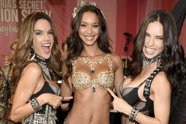 SHANGHAI, CHINA - NOVEMBER 20: Victoria's Secret Angels Alessandra Ambrosio, Lais Ribeiro and Adriana Lima pose backstage during 2017 Victoria's Secret Fashion Show In Shanghai at Mercedes-Benz Arena on November 20, 2017 in Shanghai, China.  (Photo by Kevin Mazur/Getty Images for Victoria's Secret)