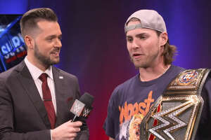 "Houston Astros outfielder and WWE superfan Josh Reddick is interviews backstage at WWE ""Survivor Series,"" Sunday, Nov. 19, 2017 in Houston."