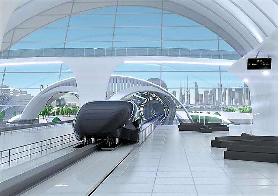 An artist's conception shows a Hyperloop pod parked at a transit station. Photo: Hyperloop One Illustration