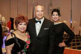 Trini Mendenhall, from left, Michael Solar and Dr. Laura Murillo at the Houston Hispanic Chamber of Commerce annual awards and gala.