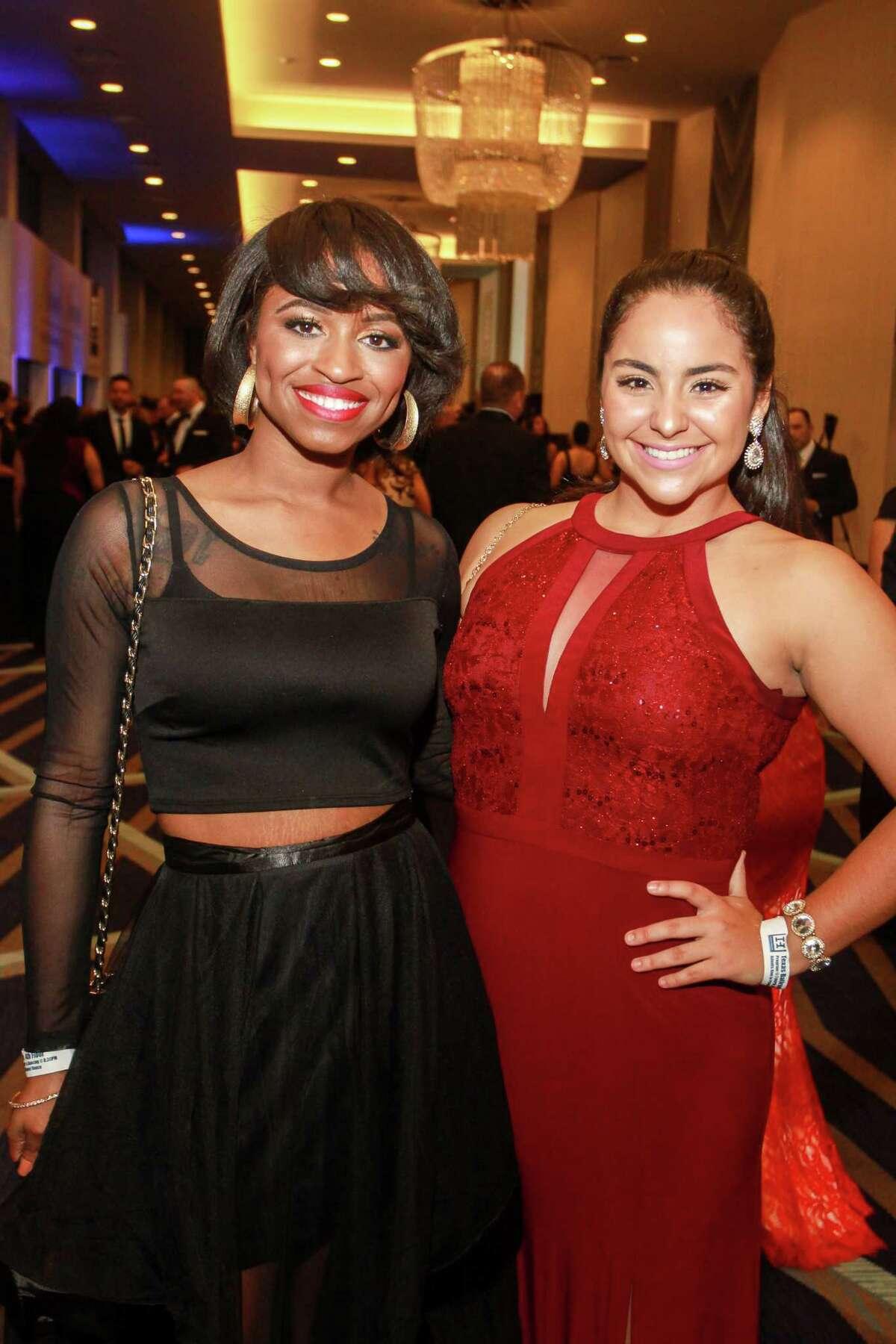 Arnaecia Alridge, left, and Maria Smith at the Houston Hispanic Chamber of Commerce annual awards and gala.