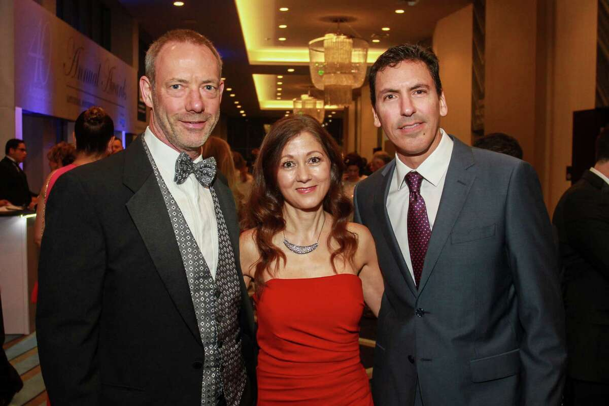 Andy and Marie Barden, from left, with Ricardo Rivadeneira at the Houston Hispanic Chamber of Commerce annual awards and gala.