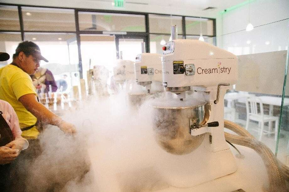 Ice cream at Creamistry is flash frozen using liquid nitrogen after customers select a base flavor and topping and mix-ins. The franchise, founded in 2013 in Irvine, Calif., is expanding in Houston. Photo: Creamistry