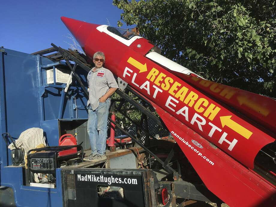 In this Wednesday, Nov. 15, 2017, photograph, daredevil/limousine driver Mad Mike Hughes is shown with with his steam=powered rocket constructed out of salvage parts on a five-acre property that he leases in Apple Valley, Cal. Hughes plans to launch his homemade contraption on Saturday near the ghost town of Amboy, Cal., at a speed of roughly 500 miles-per-hour. (Waldo Stakes/HO courtesy of Mad Mike Hughes via AP) Photo: Waldo Stakes, Associated Press