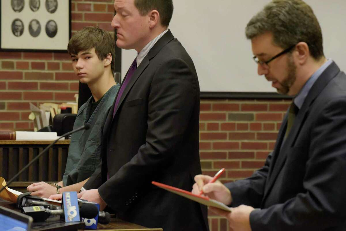 Joseph Broscko, left, and his attorney, Matthew Chauvin, are seen at Broscko's arraignment in Saratoga County Court on Monday, Nov. 20, 2017, in Ballston Spa, N.Y. Also pictured is Saratoga County Assistant District Attorney, Charles Bucca, far right. (Paul Buckowski / Times Union)