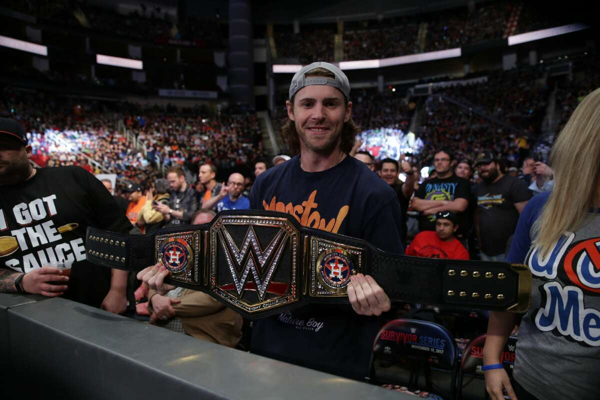 Astros star Josh Reddick poses ringside at the WWE Survivor Series event on Sunday night at the Toyota Center.
