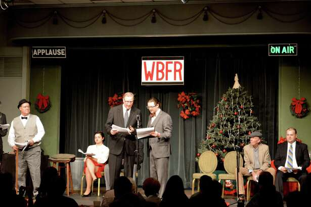 """The Clan Na Gael Players perform  the live radio play of """"It's a Wonderful Life"""" at the Gaelic American Club, Friday, Nov. 17, 2017, in Fairfield, Conn."""