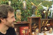 Jason Aleksa, of Fairfield-based Stonehill Design, recently set up a booth at the Fairfield Harvest Market to sell his unusual lamps.