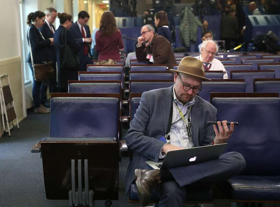 New York Times reporter Glenn Thrush works in the Brady Briefing Room after being excluded from a press gaggle by White House Press Secretary Sean Spicer, on February 24, 2017 in Washington, DC. The New York Times, Los Angeles Times, CNN and Politico were also excluded from the off camera gaggle. Photo: Mark Wilson/Getty Images