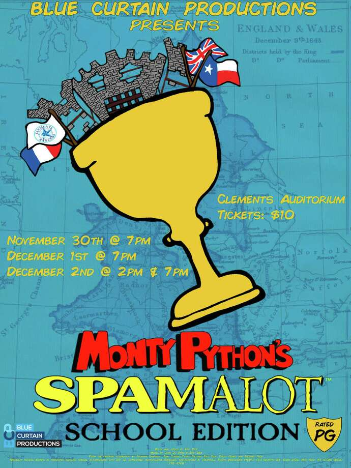 """Clements High School's Blue Curtains Production presents """"SPAMALOT School Edition,"""" a musical which tells the legendary tale of King Arthur's quest for the Holy Grail. It is inspired by the classic comedy film, """"Monty Python and the Holy Grail."""" The shows will take place in the Clements High School auditorium, 4200 Elkins Drive, Sugar Land, at 7 p.m. Nov. 30, Dec. 1-2 and at 2 p.m. Dec. 2. Photo: Clements"""