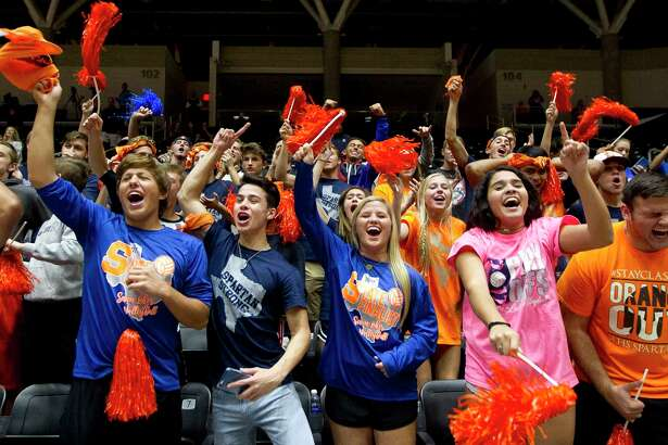 Katy Seven Lakes fans reacts after the Spartans defeated Northside O'Connor 3-1 during a Class 6A semifinal volleyball match at the UIL state tournament, Friday, Nov. 17, 2017, in Garland.