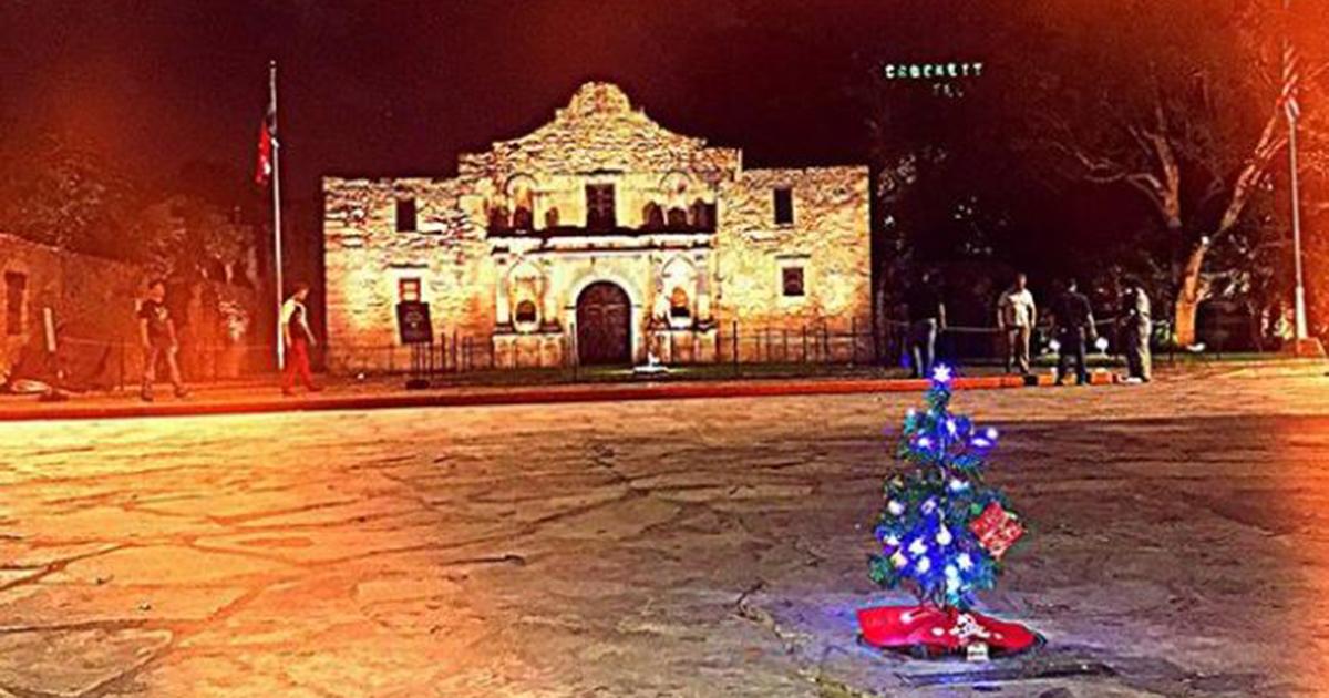 Man Behind The Tiny Defiant Christmas Tree At The Alamo