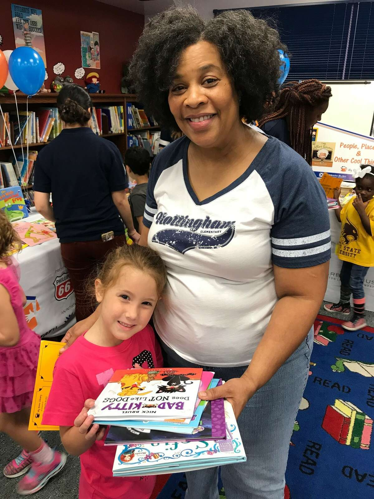 Nottingham Elementary was one of a number of elementary schools chosen based on their need but the Barbara BushHouston Literacy Foundation to give each one of their students 6 free books of their choosing.