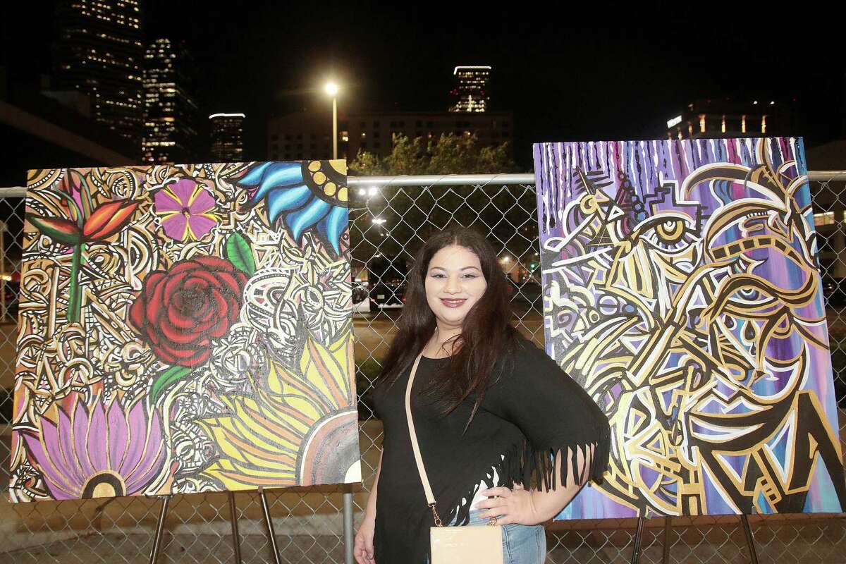 Scene at HUE Mural Festival Preview event downtown Houston. Photo by Pin Lim.