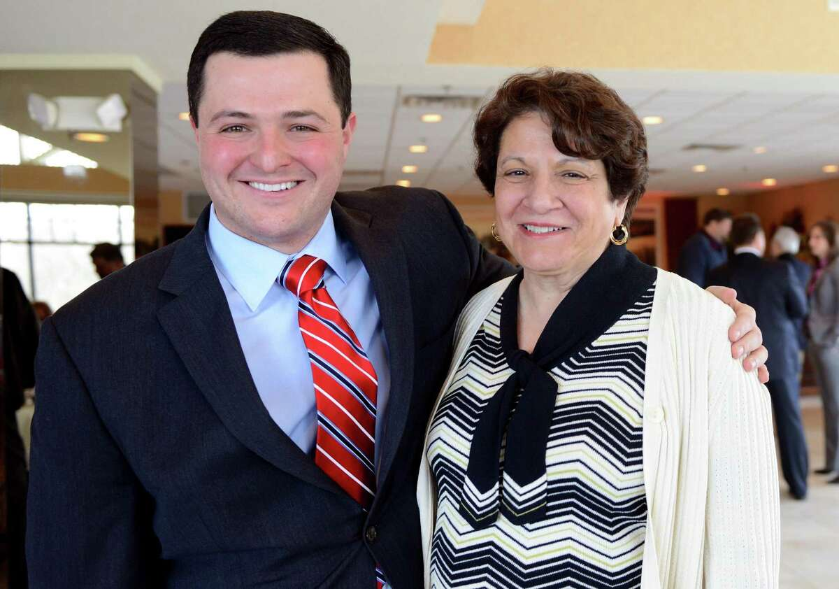 Trumbull First Selectman Tim Herbst and his mother, Board of Education chairwoman Deborah Herbst after the State of the Town address Thursday, Mar. 20, 2014, at Tashua Knolls Restaurant and Banquets in Trumbull, Conn.