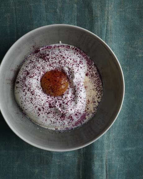 """Sugar-cured egg yolk dessert from """"Downtime: Deliciousness at Home."""" Photo: Sarah Fritsche, Photo Credit: Ditte Isager"""
