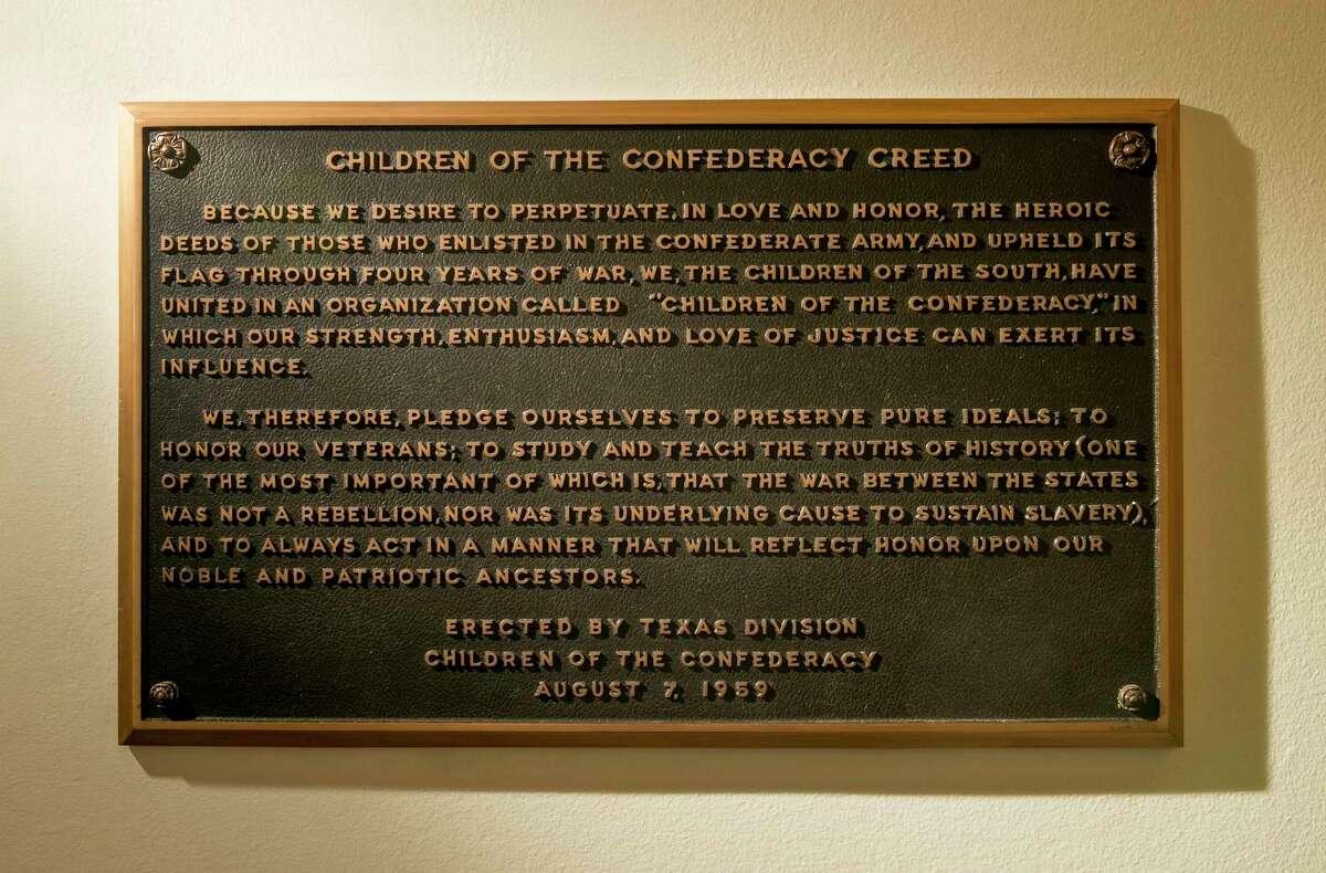The Children of the Confederacy Creed plaque at the Capitol in Austin.