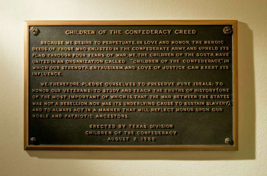 The Children of the Confederacy Creed plaque at the Capitol in Austin. Photo: Jay Janner, Associated Press / Austin American-Statesman