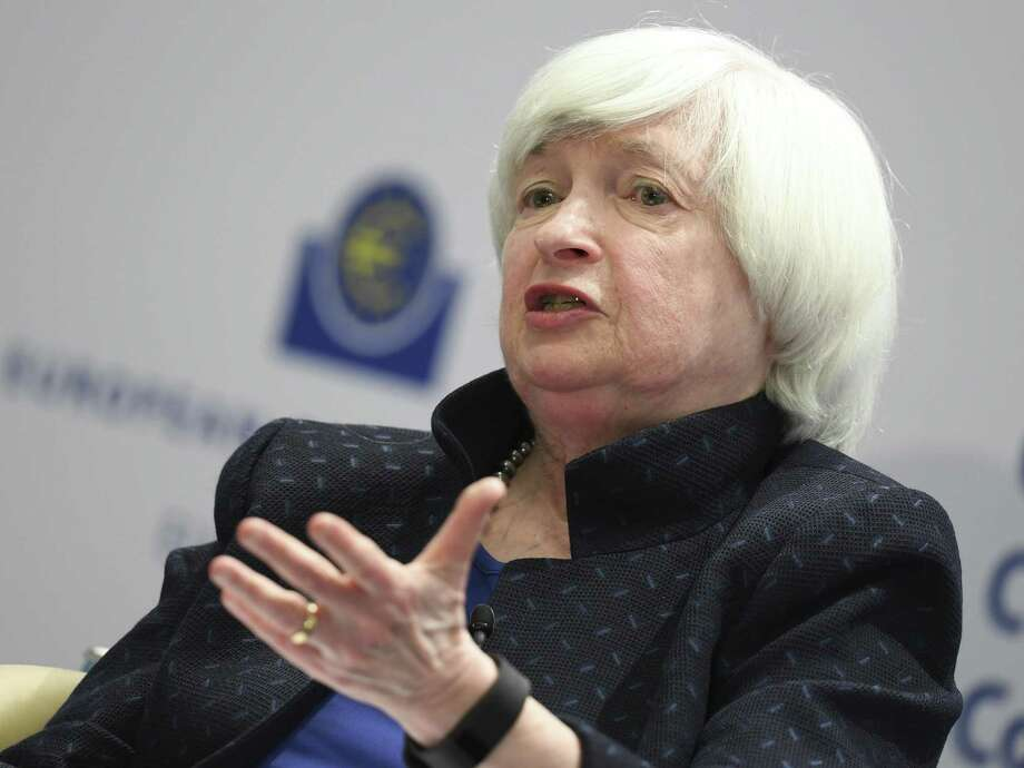 Janet Yellen of the US Federal Reserve attends a news conference at the European Central Bank, ECB headquarters, in Frankfurt, Germany, Tuesday, Nov. 14, 2017. She announced Monday plans to step down from the board when her four-year term as chairwoman ends in early February. She could have remained on the Fed's seven-member board of governors. Photo: Arne Dedert /Associated Press / dpa