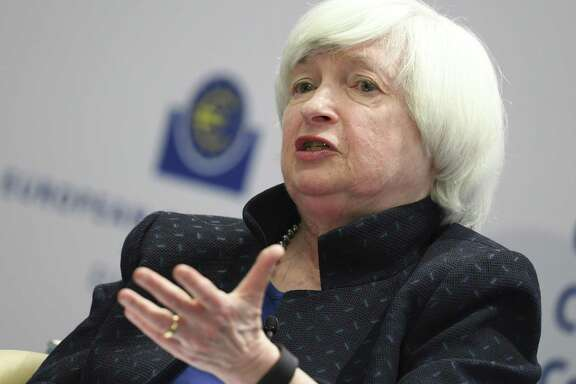 Janet Yellen of the US Federal Reserve attends a news conference at the European Central Bank, ECB headquarters, in Frankfurt, Germany, Tuesday, Nov. 14, 2017. She announced Monday plans to step down from the board when her four-year term as chairwoman ends in early February. She could have remained on the Fed's seven-member board of governors.