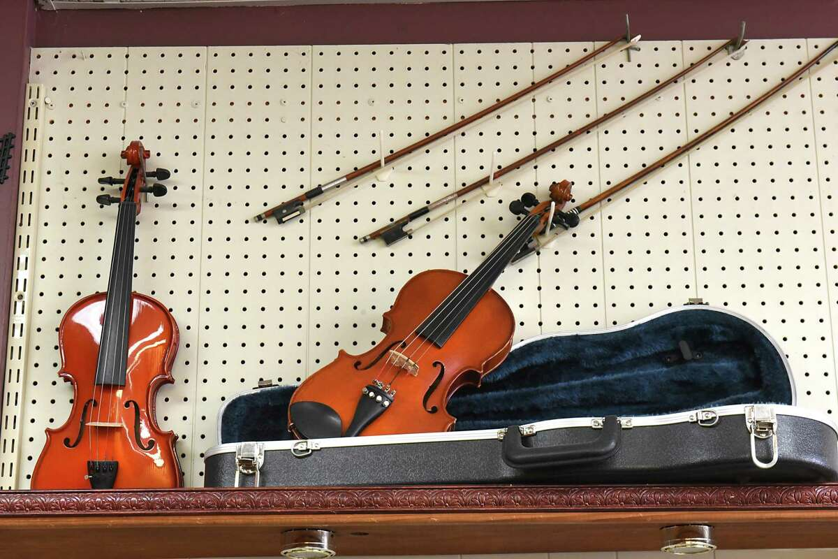 Musical instruments for sale at Northeast Music which is closing after 39 years on Monday, Nov. 20, 2017 in Latham, N.Y. (Lori Van Buren / Times Union)