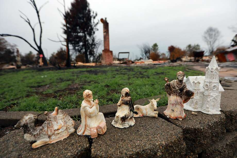 Figures from a nativity scene salvaged from a burned home in the Coffey Park neighborhood of Santa Rosa. Photo: JIM WILSON, NYT