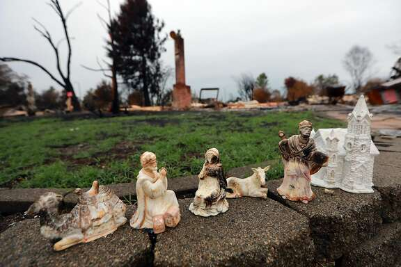 Figures from a nativity scene salvaged from a burned home in the Coffey Park neighborhood of Santa Rosa, Calif., Nov. 15, 2017. On the morning of Oct. 9, a fire engulfed the neighborhood. Coffey Park is the first neighborhood where large-scale cleanup has begun, but other Santa Rosa neighborhoods won�t be far behind. (Jim Wilson/The New York Times)