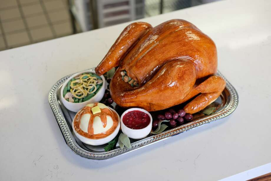 Whisk Cake Creations designer Paula Nieto made a cake that looks just like a Thanksgiving turkey along with all the fixings. The Bakery is located in Alameda. Photo: Whisk Cake Creations