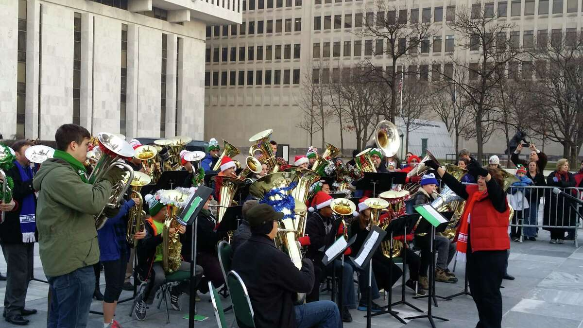 TubaChristmas 2015 at the Empire State Plaza - photo courtesy Michael Blostein