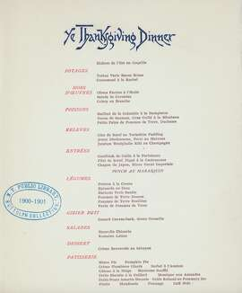 1891, Occidental Hotel, San Francisco:  Thanksgiving Dinner menu. The Hotel opened in 1861, catering to luxury travelers; it was destroyed by fire in the 1906 earthquake