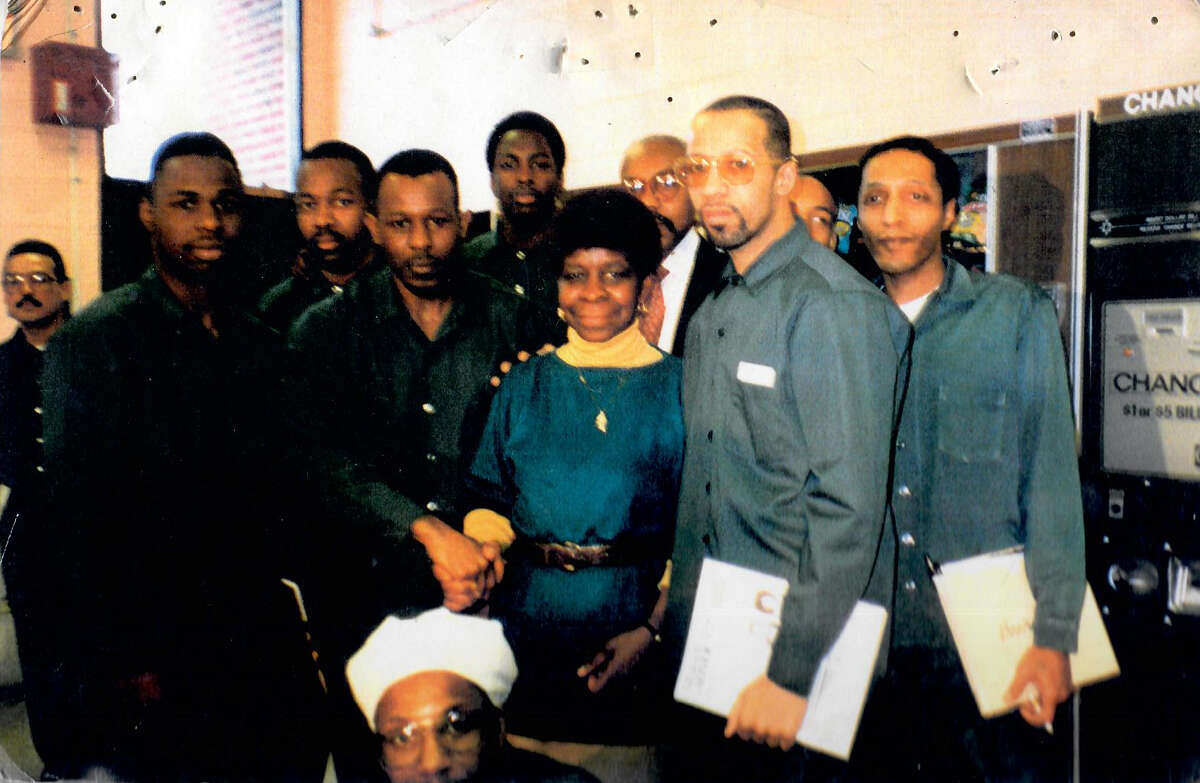 Alice Green, a volunteer at New York State prisons for 20 years, with a group of incarcerated men at Green Haven Correctional Facility in Stormville, New York in 1992. (Provided by Alice Green)