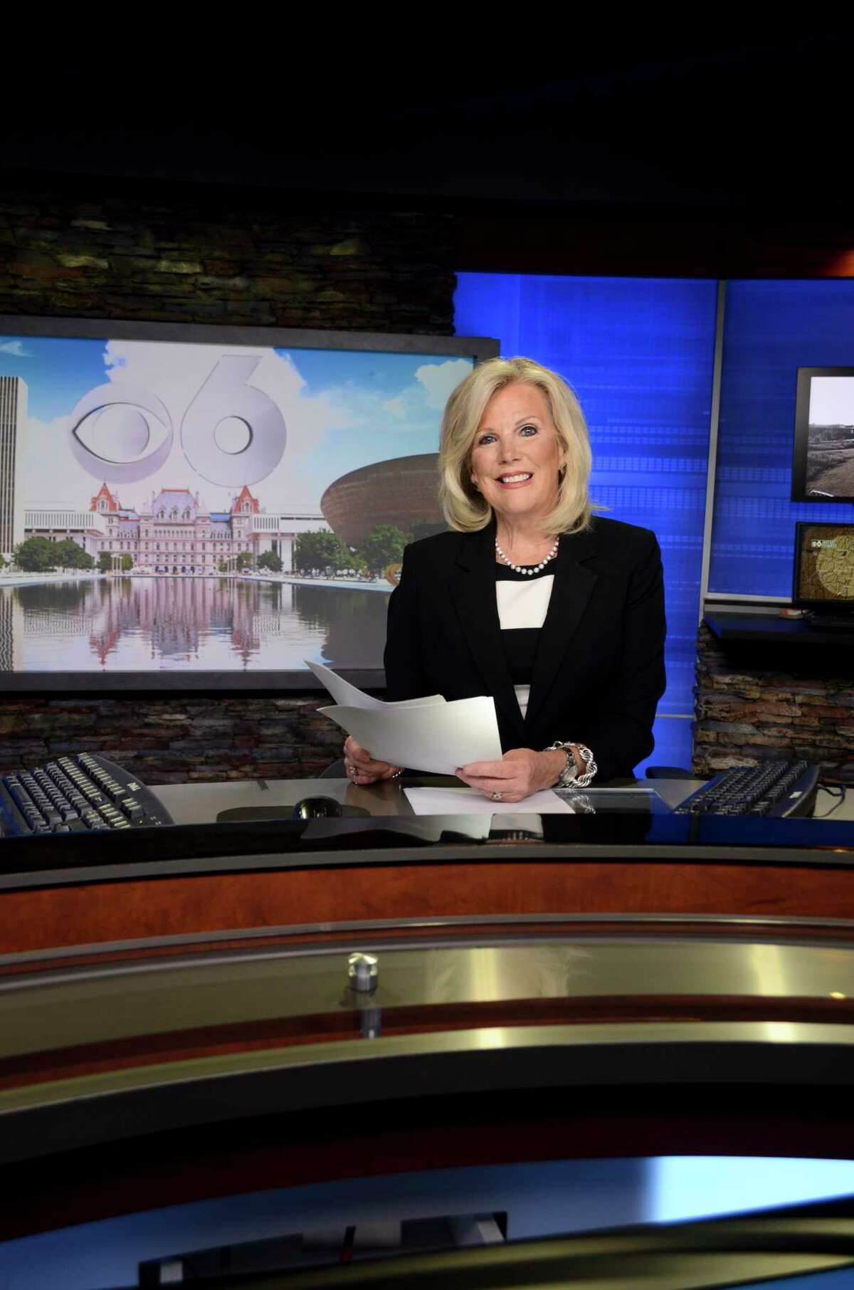 Liz Bishop, News Anchor, WRGB (CBS-6), in the WRGB news studio in Schenectady, NY, on Tuesday, September 26, 2017. (Photo by Colleen Ingerto / Times Union)