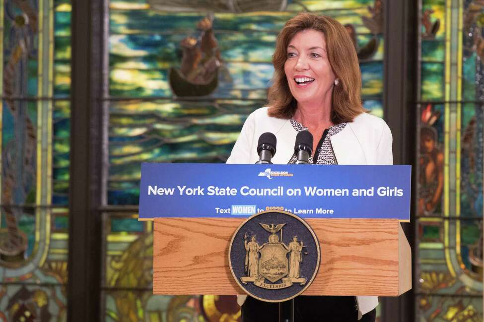 Lt. Gov. Kathy Hochul addresses the crowd gathered in New York City for the Aug. 2, 2017 launch of the New York State Council on Women and Girls. (Executive Chamber)