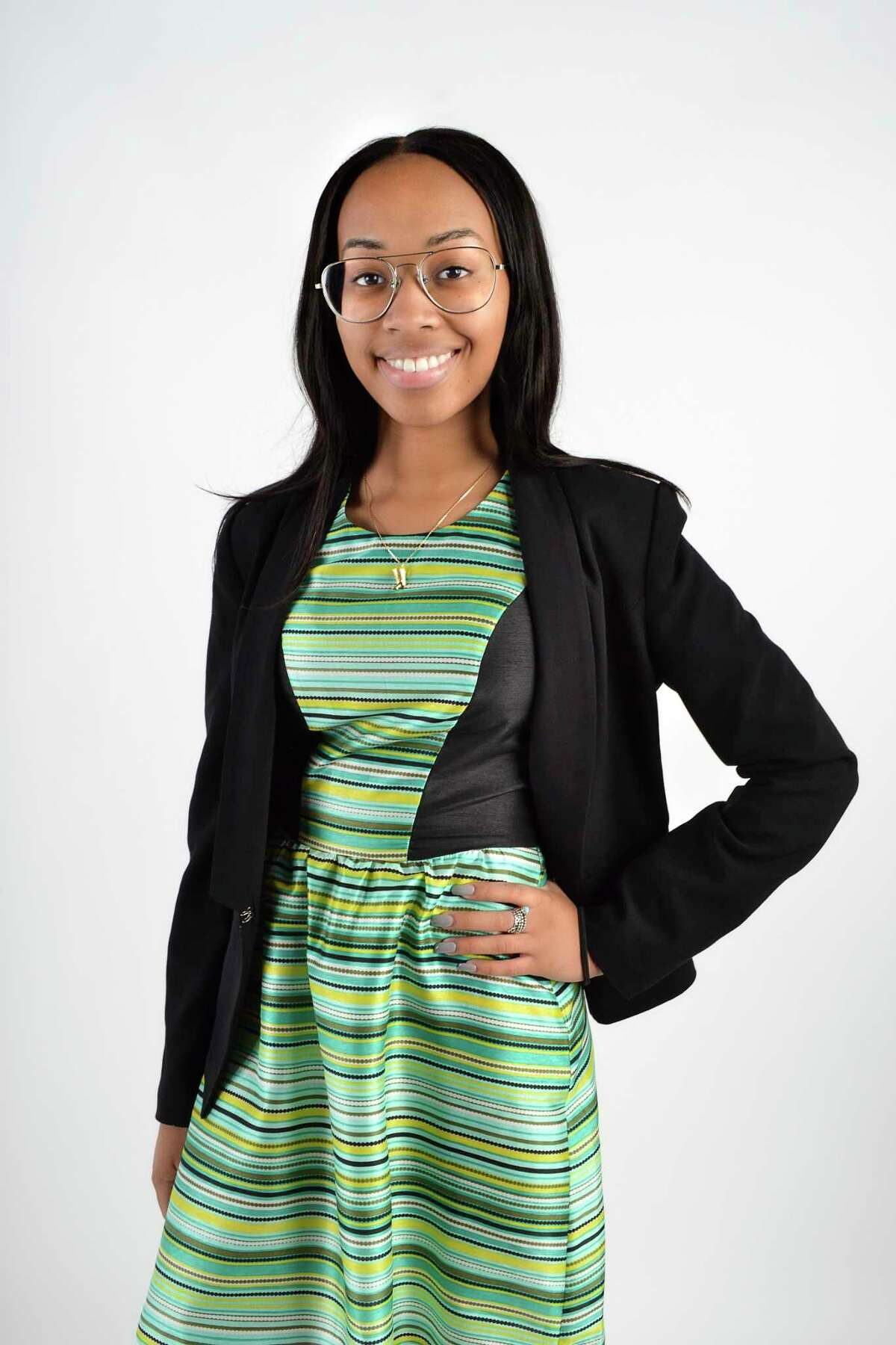 Nyra Alexander, a member of the first 20 Under 20 class ?- a joint effort between Women@Work and the Girl Scouts of NENY, at the Times Union in Albany on Monday, August 7, 2017. (Photo by Colleen Ingerto / Times Union)