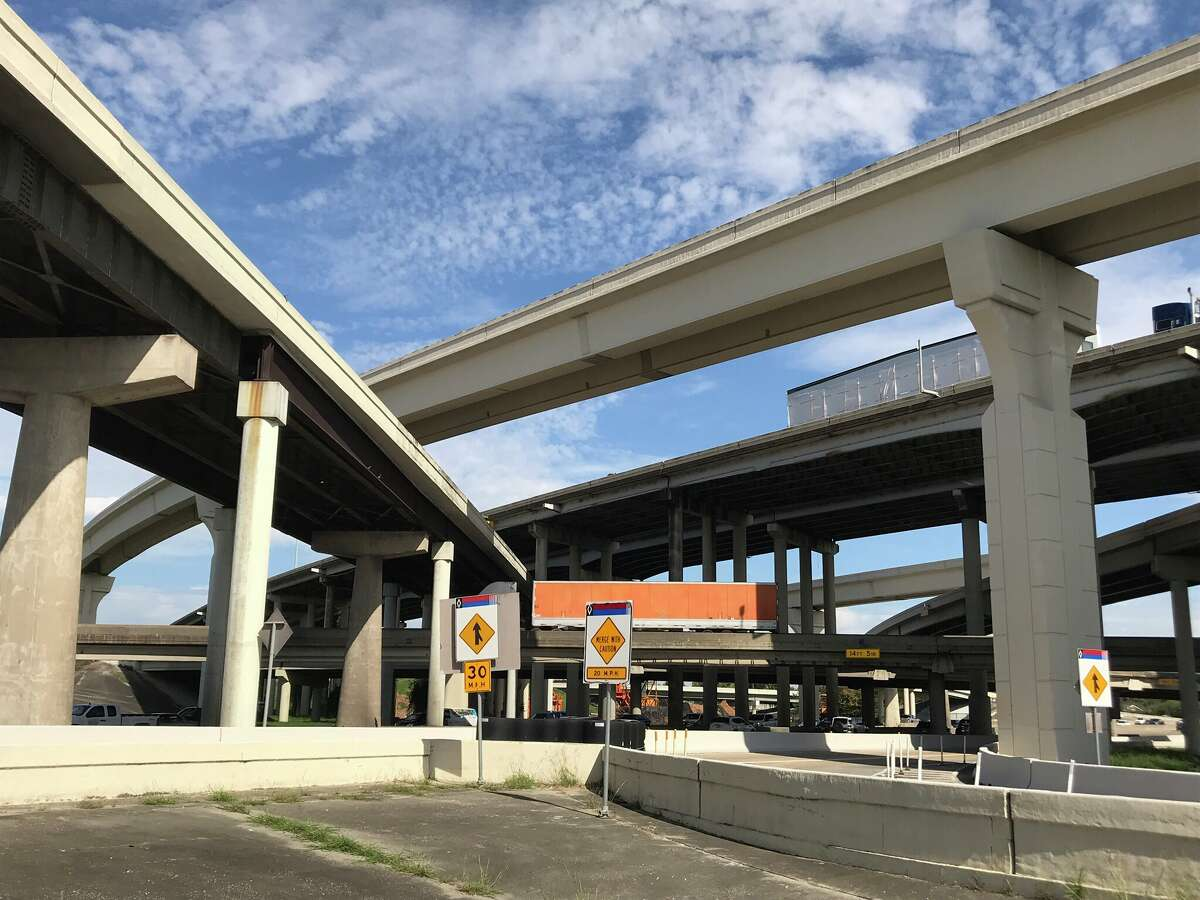 Reconstruction of the Loop 610 interchange with Interstate 69, seen here Monday, will include making all connector ramps two lanes.