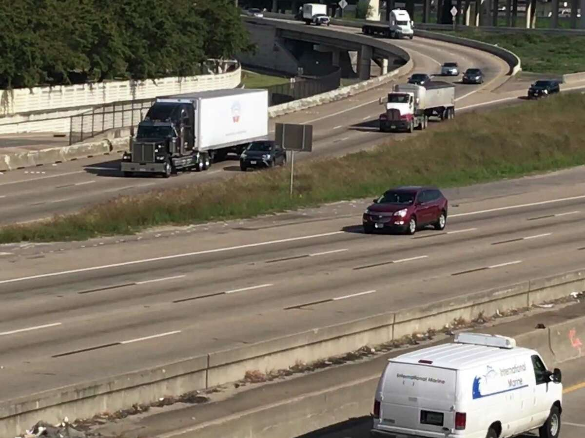 Traffic merges onto southbound Interstate 69 near Loop 610 on Monday, in Houston.