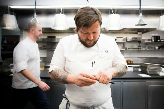 Erik Anderson (front) will take over as the new executive chef of Coi. The restaurant recently earned its third Michelin star which came under Matthew Kirkley (back).
